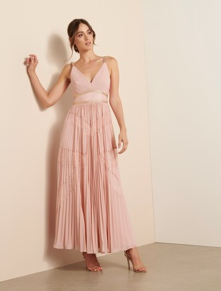Forever New Kayla Spliced Lace Pleated Maxi Dress - PENSIVE PINK - 16