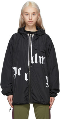 Palm Angels Black Broken Logo Windbreaker Jacket