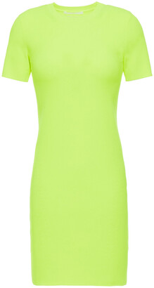 Helmut Lang Neon Ribbed-knit Mini Dress