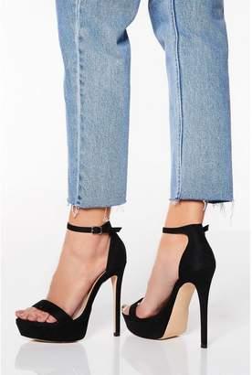 Quiz Black Faux Suede High Heel Sandals