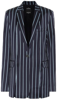 Rokh Striped wool and cotton blazer