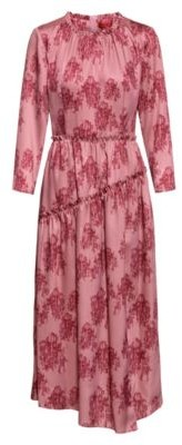 HUGO BOSS Midi Length Frilled Dress With Collection Themed Toile Print - Patterned