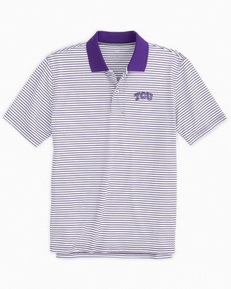 Southern Tide TCU Horned Frogs Pique Striped Polo Shirt