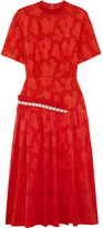 Mother of Pearl Twilla Embellished Burnout Cotton Midi Dress - Red