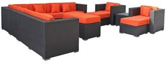 Modway Coherence 11 Piece Rattan Sectional Set with Cushions Fabric: Orange, Color: Espresso