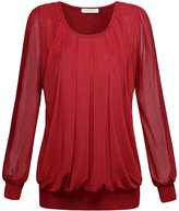 BAISHENGGT Women's Long Sleeve Pleated Front Mesh Blouse