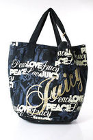 Juicy Couture Black Blue Ivory Logo Print Casual Tote Handbag