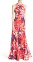 Eliza J Petite Women's Floral Print Halter Maxi Dress