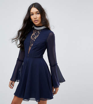 Asos Tall TALL Embellished Frill Neck Fluted Sleeve Mini Dress-Grey