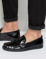 Dune Tassel Penny Loafers In Black Leather
