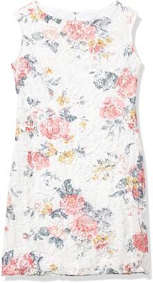 Marina Women's Short Printed Lace Sheath with Open Back White/Multi 8