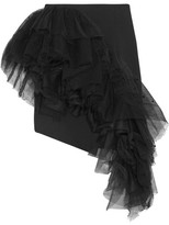 Saint Laurent Ruffled Flocked Tulle And Wool-gabardine Mini Skirt - Black