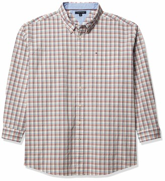Tommy Hilfiger Long Sleeve Button Down Oxford Shirt in Custom Fit Apple Red