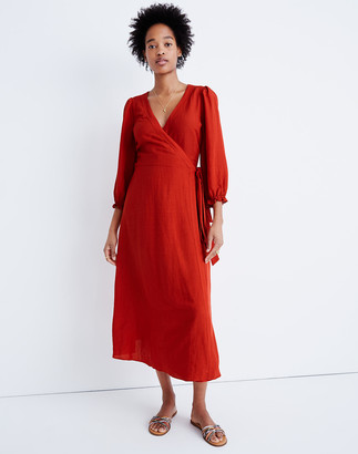Madewell Petite Linen-Blend Ruffle-Cuff Wrap Dress