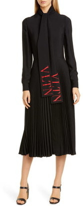 Valentino VLTN Logo Tie Neck Long Sleeve Midi Dress