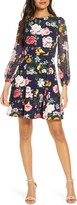 Vince Camuto Long Sleeve Floral Print Dress