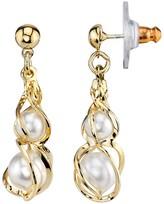 1928 Simulated Pearl Twist Drop Earrings