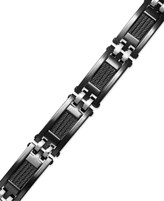 Thumbnail for your product : Sutton by Rhona Sutton Men's Black Ion-Plated Stainless Steel Cable Slot Link Bracelet