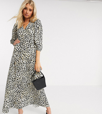 Asos Tall ASOS DESIGN Tall exclusive trapeze maxi dress with puff sleeve in leopard print