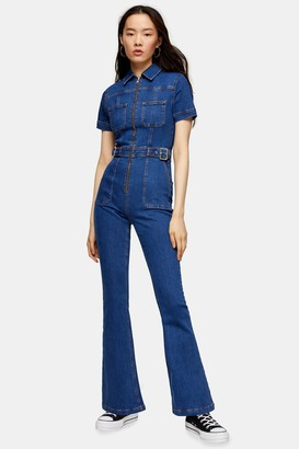 Topshop Stretch Denim Flared Boiler Suit With Buckle