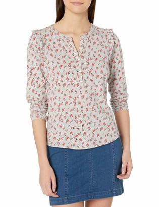 Lucky Brand Women's Long Sleeve Floral Print Ruffle Henley Shirt