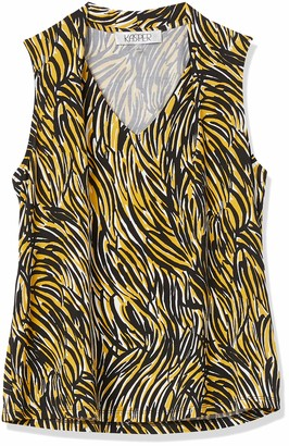 Kasper Women's Animal Printed Sleeveless Knit V Neck