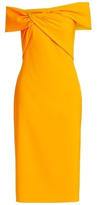 Theia Crepe Off-The-Shoulder Dress