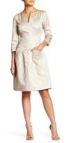 Oscar de la Renta 3/4 Sleeve Split Neck Pocket Dress