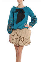 Ryu Teal Peasant Blouse
