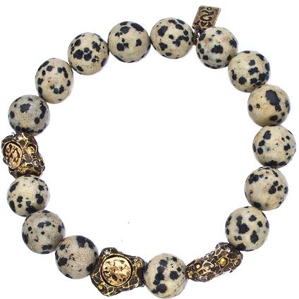 Tat2 Designs Vintage Gold Brass and Dalmatian Jasper Beaded Stretch Bracelet