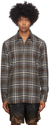 Dries Van Noten Grey and Brown Plaid Shirt