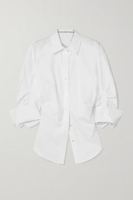 Alexander Wang Ruched Cotton-poplin Shirt - White