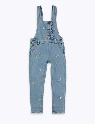 Marks and Spencer Denim Embroidered Flower Dungarees (2-7 Years)