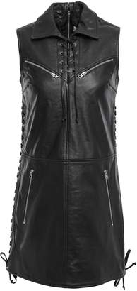 McQ Lace-up Textured-leather Mini Dress