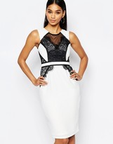Lipsy Pencil Dress With Mesh Lace Contrast