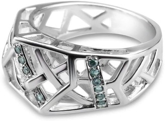 Bellus Domina White Gold Plated Crossover Topaz Ring