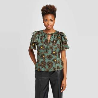 Who What Wear Women's Flounce Short Sleeve Split Neck Peplum Ruffle Blouse TM