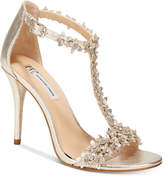 INC International Concepts Women's Rosiee T-Strap Embellished Evening Sandals, Created for Macy's Women's Shoes