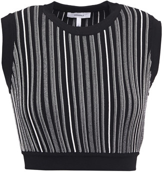 CASASOLA Eugenia Cropped Striped Jacquard-knit Top