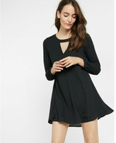 Express cut-out pintucked trapeze dress