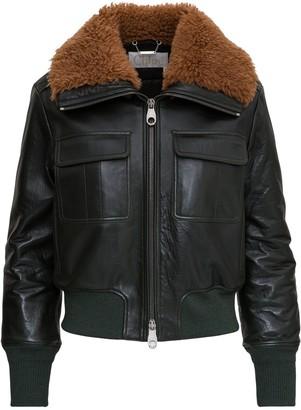 Chloé Shearling-Collar Aviator Jacket