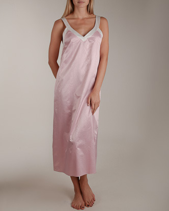 Cassis Moiré Satin Long Gown