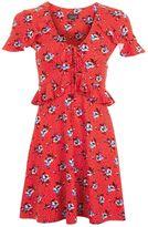 Topshop TALL Red Spot Floral Tea Dress