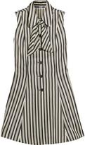 McQ Pussy-Bow Striped Satin-Twill Mini Dress