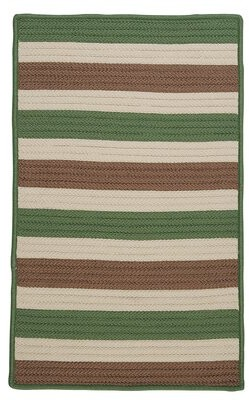 Viv + Rae Georg Striped Green/Beige/Brown Indoor / Outdoor Area Rug Rug Size: Rectangle 2' x 3'