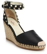 Valentino Rockstud Leather Wedge Espadrilles