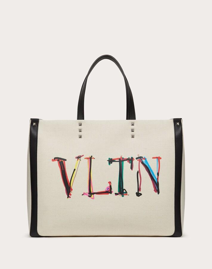 Thumbnail for your product : Valentino Garavani Uomo Medium Vltn Graph Canvas Tote Bag Man Natural/multicolor 63% Cotton 37% Linen OneSize