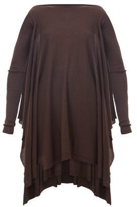 Rick Owens Round-neck Merino-wool Poncho - Womens - Brown