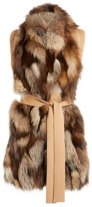 D-Exterior D.Exterior Fox Fur Belted Gilet