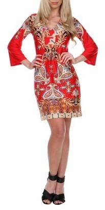 White Mark Women's Venetian Printed 3/4 Sleeve Dress